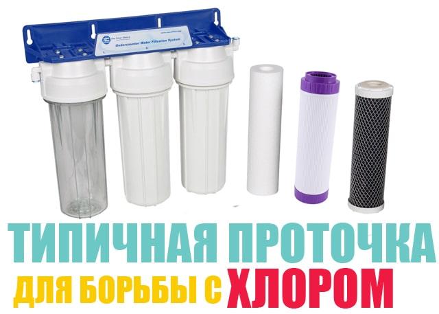 Так выглядит классический бытовой проточный фильтр для очистки питьевой воды от остаточного хлора